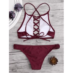 Lace Up Criss Cross Padded Bikini - WINE RED M