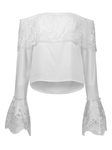 Trendy Off The Shoulder Lace Ruffle Top - XL WHITE Mobile
