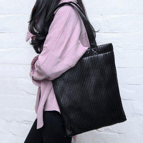 Outfit Ribbed Metallic Shopper Bag - BLACK  Mobile
