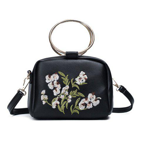 Embroidered Dual Metal Rings Handbag - Black - 37