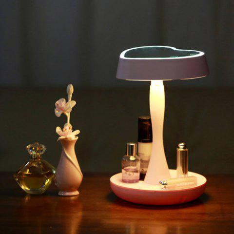 Chic 180 Degrees Rotate Heart Shaped USB Makeup Mirror Desk Lamp - PINK  Mobile