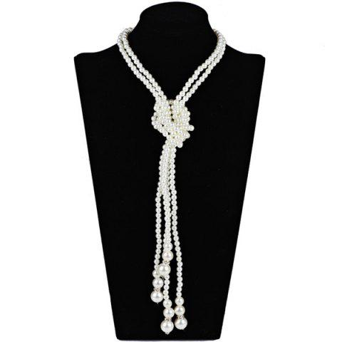 2PCS Statement Graduated Pearl Necklaces - White