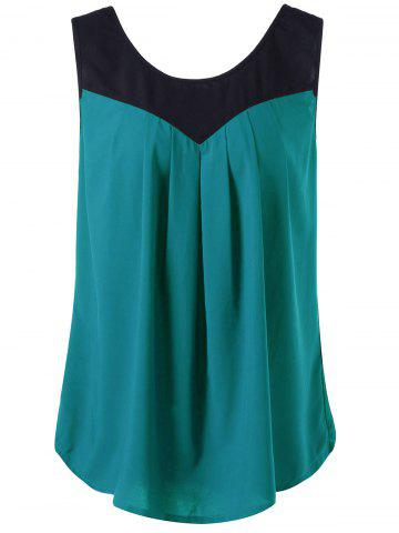 Curved Plus Size Two Tone Tank Top - Malachite Green - 4xl
