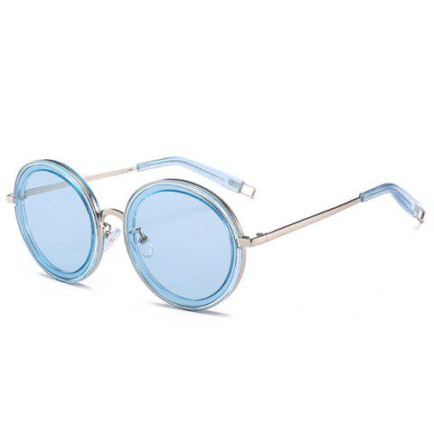 Trendy Hollow Out Leg Anti UV Round Sunglasses - SILVER FRAME + BLUE LENS  Mobile