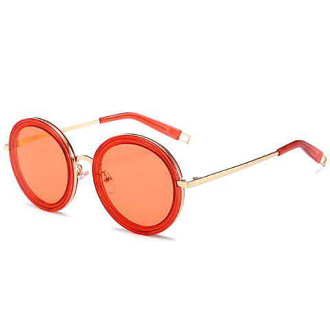 Hot Hollow Out Leg Anti UV Round Sunglasses - GOLD FRAME+RED LENS C6  Mobile