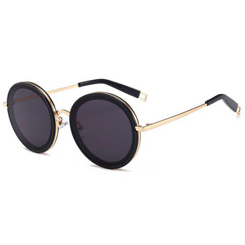 Latest Hollow Out Leg Anti UV Round Sunglasses - GOLD FRAME + BLACK LENS  Mobile