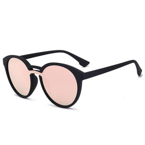 Store Double Crossbar Reflective Retro Mirror Sunglasses BRIGHT BLACK FRAME+PINK MERCURY LENS