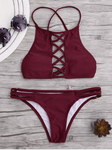Cheap Lace Up Criss Cross Padded Bikini WINE RED L