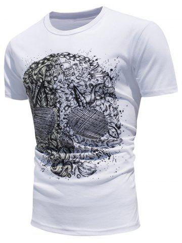 Skull Printed Color Changing Short Sleeve T-Shirt - White - 2xl
