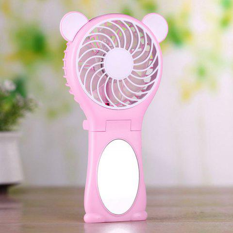 Bear Ear Design Miroir Folding Handheld USB Fan ROSE PÂLE