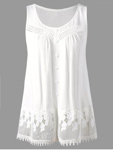 Shop Openwork Single Breasted Crinkle Top WHITE 2XL
