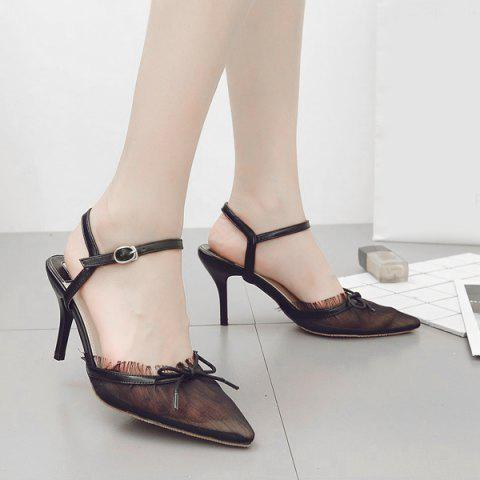 Chic Bow Mesh Pointed Toe Pumps