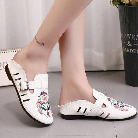 Sale Buckle Strap Embroidery Flat Shoes - 37 WHITE Mobile