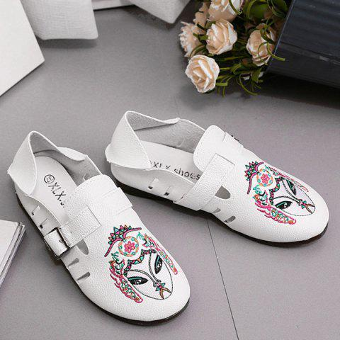 Store Buckle Strap Embroidery Flat Shoes - 37 WHITE Mobile