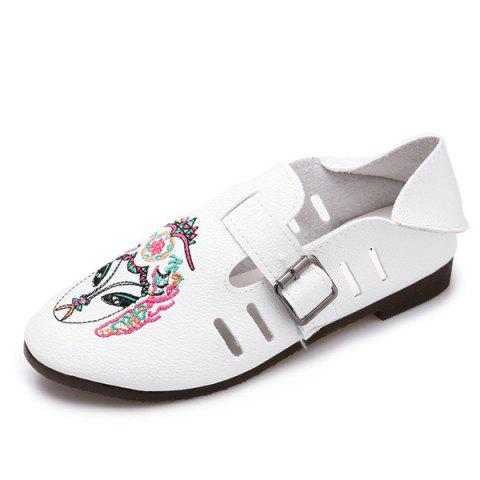 Shop Buckle Strap Embroidery Flat Shoes - 37 WHITE Mobile