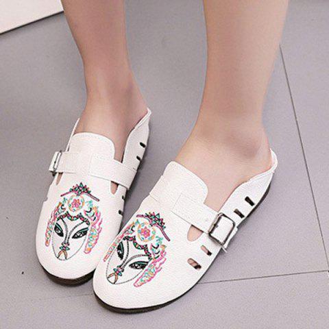 Fancy Buckle Strap Embroidery Flat Shoes - 37 WHITE Mobile