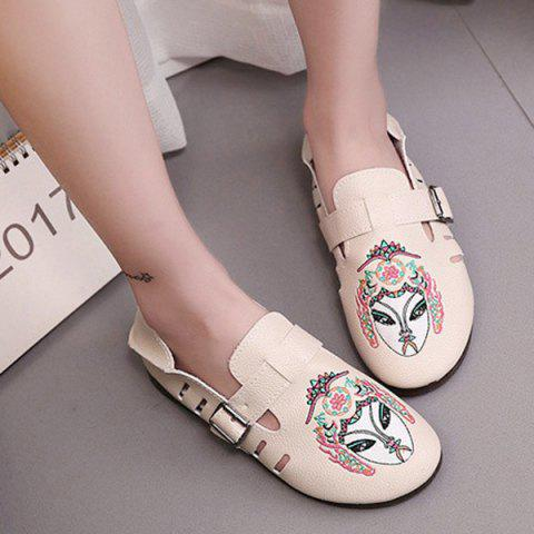 Hot Buckle Strap Embroidery Flat Shoes - 39 APRICOT Mobile