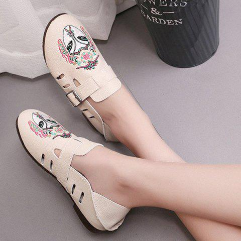 Best Buckle Strap Embroidery Flat Shoes - 39 APRICOT Mobile