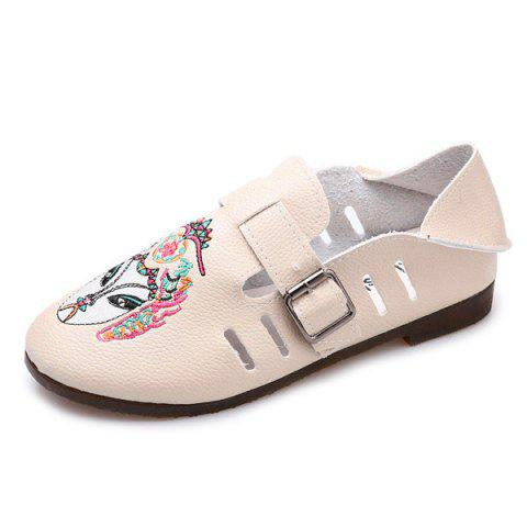 Sale Buckle Strap Embroidery Flat Shoes - 39 APRICOT Mobile
