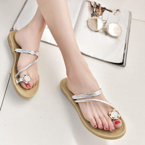 Latest Toe Ring Metal Color Slippers SILVER 37