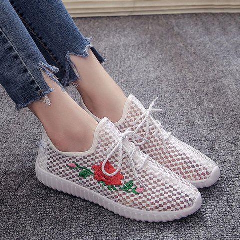 Affordable Embroidery Mesh Breathable Athletic Shoes - 37 WHITE Mobile
