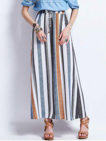 Cheap Striped Drawstring High Waisted Maxi Skirt COLORMIX S