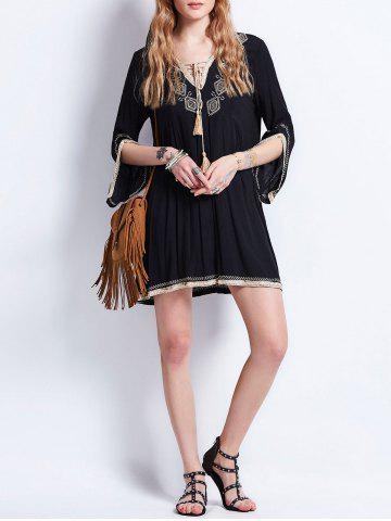 Shops Tassel Lace Up Embroidered Bohemian Dress - M BLACK Mobile