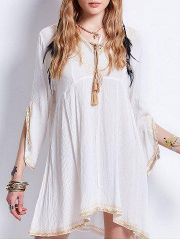 Store Tassel Lace Up Embroideried Bohemian Dress WHITE M