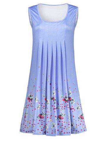 Fancy Floral Print Ruched Sleeveless Dress