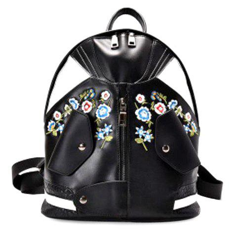 Store Jacket Shaped Floral Embroidered Backpack BLACK