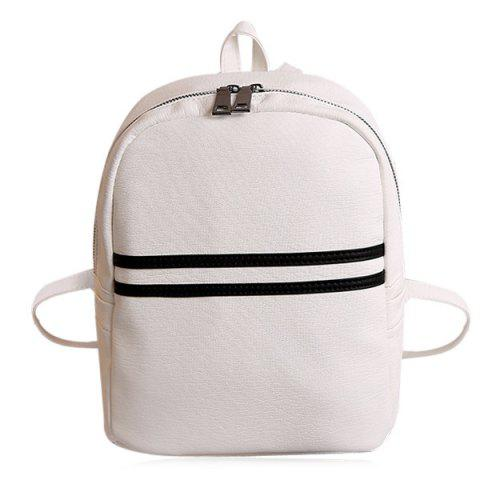 Unique PU Leather Contrast Stripe Backpack WHITE