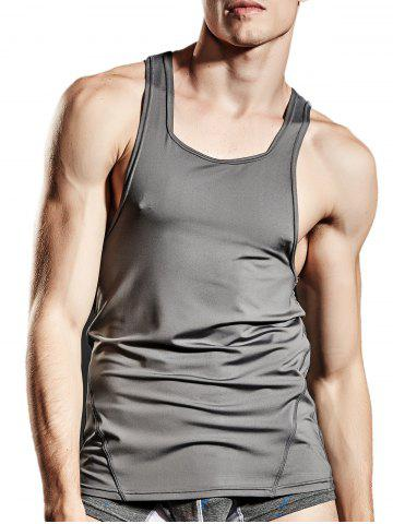 Best Fitted Stretchy Suture Tank Top - XL GRAY Mobile