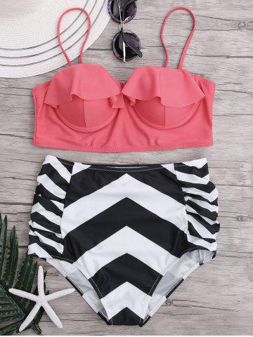 Zigzag Bikini Swimsuit with High Waisted Bottom - Pink - Xl