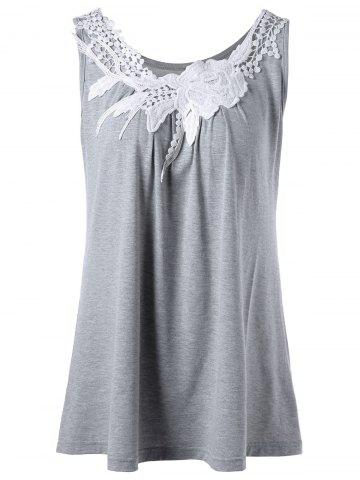 Buy Floral Lace Panel Tank Top GRAY XL