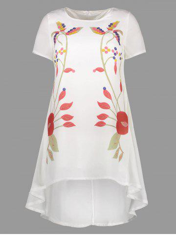 New Printed Asymmetrical Dress WHITE XL