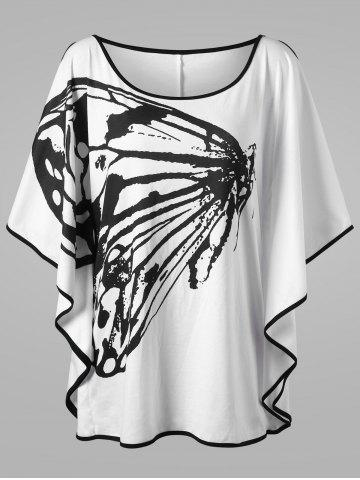 Best Plus Size Butterfly Pattern Slit Sleeve T-shirt - 3XL WHITE AND BLACK Mobile