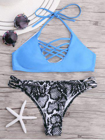 Halter Push Up Cross Strappy Bikini Set