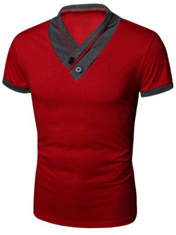 Buttons Embellished Shawl Collar Short Sleeve T-Shirt - Red - 2xl