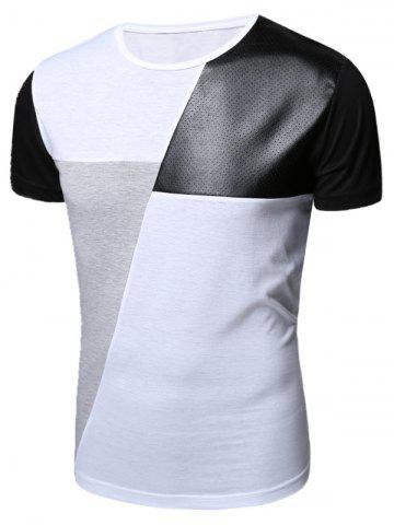 Openwork PU Leather Color Block Panel T-Shirt - White - 2xl