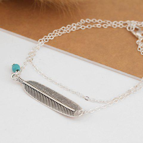 Latest Artificial Turquoise Alloy Feather Chain Anklet - SILVER  Mobile