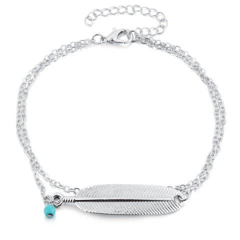 Chic Artificial Turquoise Alloy Feather Chain Anklet - SILVER  Mobile