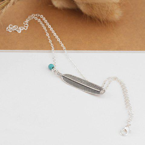 Shop Artificial Turquoise Alloy Feather Chain Anklet - SILVER  Mobile