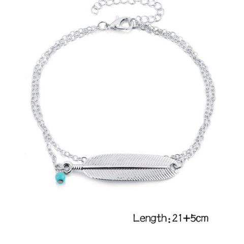 Unique Artificial Turquoise Alloy Feather Chain Anklet - SILVER  Mobile