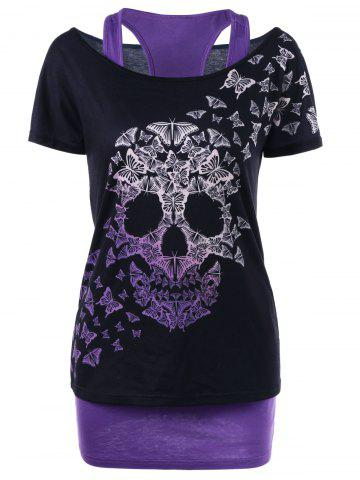 Affordable Skull Butterfly T-shirt with Tank Top BLACK AND PURPLE 2XL