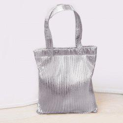 Ribbed Metallic Shopper Bag