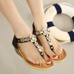 Wedge Heel Zipper Sandals - BLACK