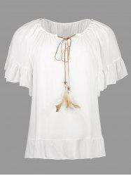 Feather Pearl Embellished Casual Top