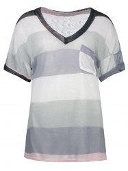 Sheer Pocketed Stripe Knit Tee