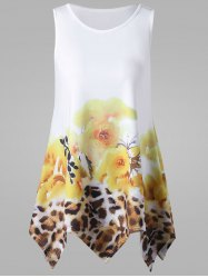 Leopard and Floral Handkerchief Tank Top - WHITE
