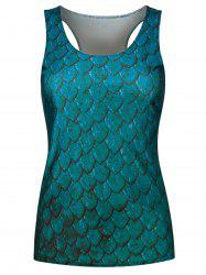Fish Scale Print Racerback Tank Top